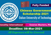 Dalian University of Technology CSC Scholarship 2021 in China (Fully Funded)
