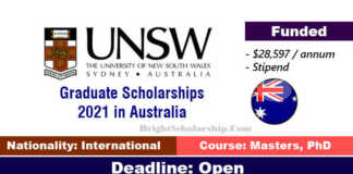 UNSW Graduate Scholarships 2021 in Australia (Funded)