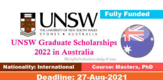 UNSW Graduate Scholarships 2022 in Australia (Fully Funded)