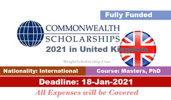 Commonwealth Graduate Scholarships 2021 in United Kingdom (Fully Funded)