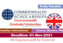 Commonwealth Graduate Scholarships 2022 in UK (Fully Funded)