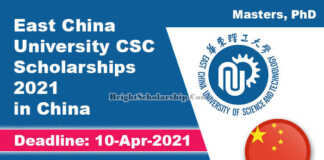 East China University CSC Scholarships 2021 in China (Fully Funded)