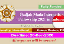 Gadjah Mada International Fellowship 2021 in Indonesia (Fully Funded)