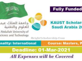 King Abdullah University Scholarship 2021 in Saudi Arabia (Fully Funded)