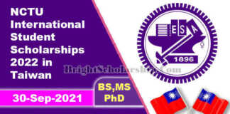 NCTU International Student Scholarships 2022 in Taiwan (Fully Funded)