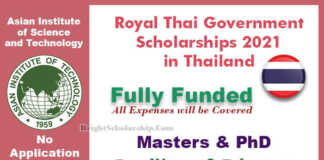 Royal Thai Government Scholarships 2021 in Thailand (Fully Funded)