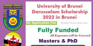 University of Brunei Darussalam Scholarship 2022 in Brunei (Fully Funded)
