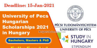 University of Pecs Hungarian Scholarships 2021 in Hungary (Fully Funded)