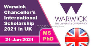 Warwick Chancellor's International Scholarship 2021 in UK (Fully Funded)