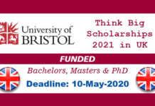 Bristol University Think Big Scholarships 2021 in United Kingdom (Funded)