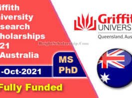Griffith University Research Scholarships 2021 in Australia (Funded)