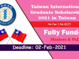 Taiwan International Graduate Scholarship 2021 in Taiwan (Fully Funded)