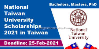 National Taiwan University Scholarships 2021 in Taiwan (Funded)
