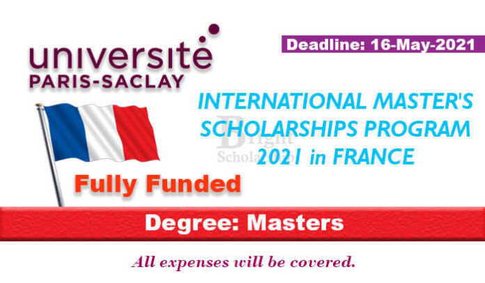 Paris-Saclay University International Scholarship 2021 in France (Fully Funded)