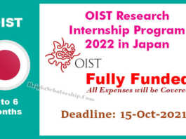 OIST Research Internship Program 2022 in Japan (Fully Funded)