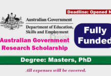 Australian Government Research Scholarship 2022 (Fully Funded)