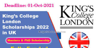 King's College London Scholarships 2022 in UK (Fully Funded)