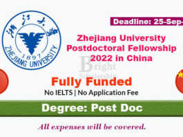 Zhejiang University Postdoctoral Fellowship 2022 in China (Fully Funded)