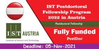 IST Postdoctoral Fellowship Program 2022 in Austria (Fully Funded)